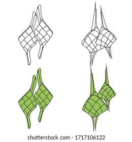 ketupat or traditional food, outline and coloring vector