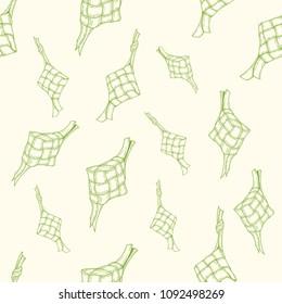 Ketupat vector seamless pattern for ramadhan, eid al fitri