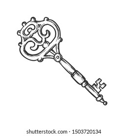 Key Antique Decorative Design Monochrome Vector. Ornate Door Or Gate Skeleton Victorian Key. Close Territory Access Element Template Hand Drawn In Vintage Style Black And White Illustration