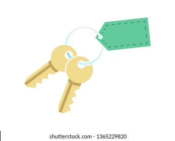 Key with blank tag keychain. Icon of house home door or car bunch golden keys on keyring. Concept for purchase real estate or realtor services sign. Vector isolated illustration