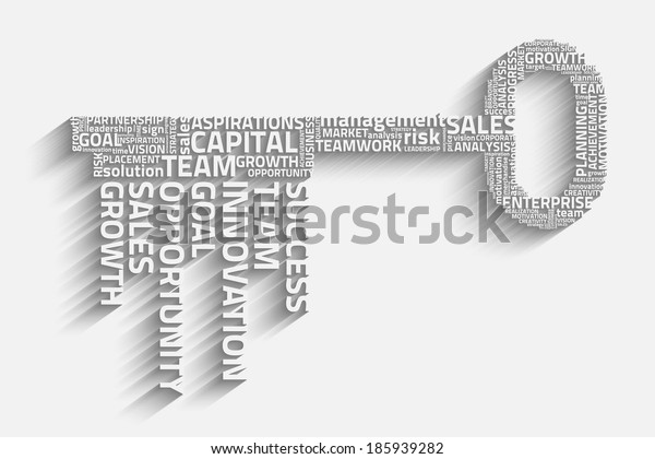 key with business words, eps10 vector concept
