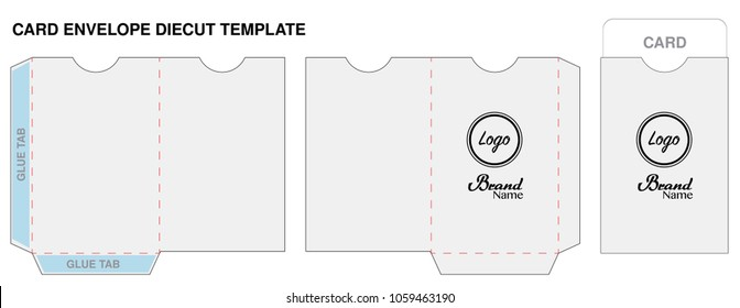key card envelope die-cut template mockup vector