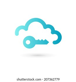 Key cloud symbol logo icon design template. Secure sign.