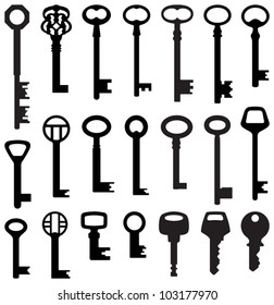 Key collection (old and new) - vector silhouette