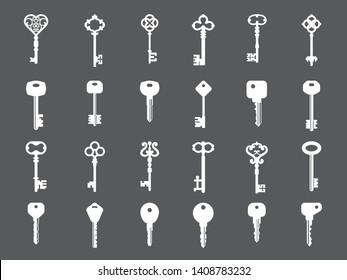 Key collection. Retro and modern house key silhouettes vector template for logo design. Set of keys white silhouette for safety house illustration