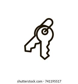 Key flat icon. Single high quality outline symbol of car key for web design or mobile app. Thin line signs of login for design logo, visit card, etc. Outline logo of keyhole