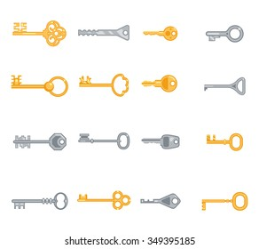 Key flat icons set. Security and access, metal antique personal. Vector illustration