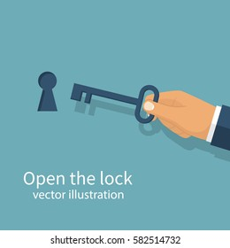 Key in hand holds man. Open the door lock. Keyhole isolated on white background. Vector illustration flat design. Unlock opening. Real estate template for sales, rental, advertising. Sign in house.