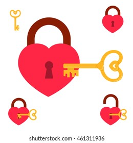 Key from heart. key and heart-shaped lock collection. vector illustration