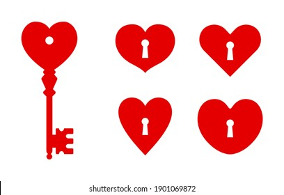 key heart shape with keyhole icon set