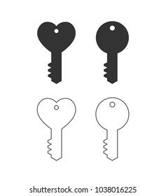 key heart shape outline icon