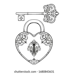 Key and heart shaped padlock in vintage style coloring book page for kids and adults hand drawn line art print or tattoo design vector illustration