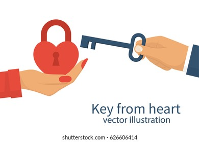 Key from heart. Woman holding a closed red padlock in the form of a heart. Vector illustration flat design. Isolated on white background. Old key is in the man's hand.