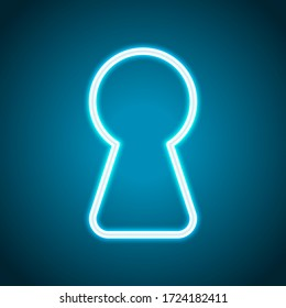 Key hole of door or lock, outline design. Neon style. Light decoration icon. Bright electric symbol