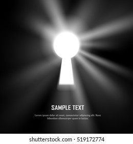 Key hole on black wall with light and shiny glow effect, template for business concept, vector art and illustration.