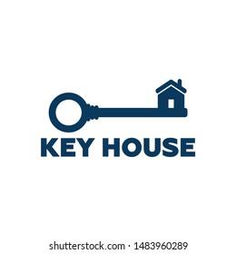 Key House Logo Template Design Vector, Emblem, Design Concept, Creative Symbol, Icon