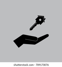 key from house on the hand vector illustration