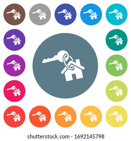 Key and house on keyring flat white icons on round color backgrounds. 17 background color variations are included.