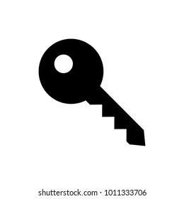 Key icon, black isolated on white background, vector illustration.