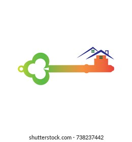 key icon with house logo conception, key and house logo template
