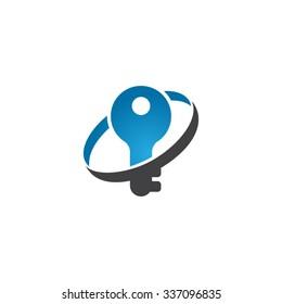 key icon logo with circle swoosh