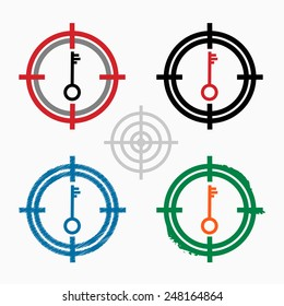 Key icon on target icons background. Crosshair icon. Vector illustration.
