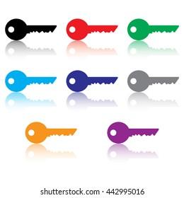 Key Icon Set With Reflection