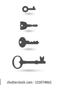 Key. Icon Set. Vector