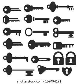 Key Icon Set - Vector Illustration