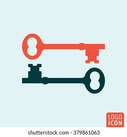 Key icon. Two keys icon isolated, minimal design. Vector illustration