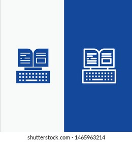 Key, Keyboard, Book, Facebook Line and Glyph Solid icon Blue banner. Vector Icon Template background