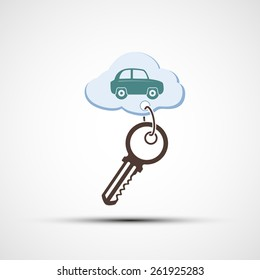Key with keychain. The car is painted on a cloud.