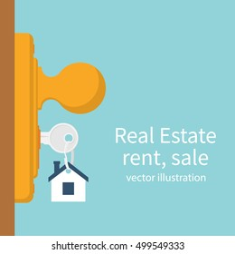 Key in keyhole on door. Real Estate concept, template for sales, rental, advertising. Sign on the home key. Vector illustration flat design.