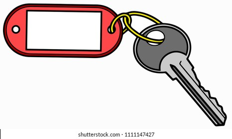 Key with label isolated on white background. Vector illustration.