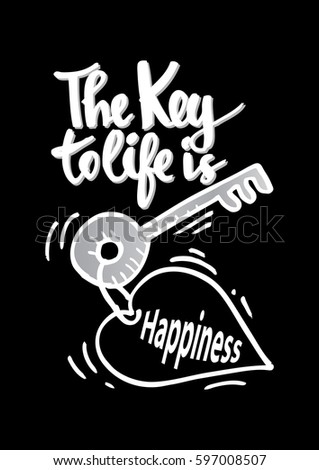 Key Life Happiness Quotes Motivation Stock Vector Royalty Free
