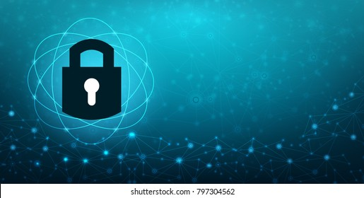 Key lock security system abstract technology world digital link cyber security on hi tech Dark blue background