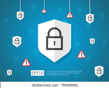 key lock shield protect and alert icon, Internet VPN Security banner Concept vector illustration