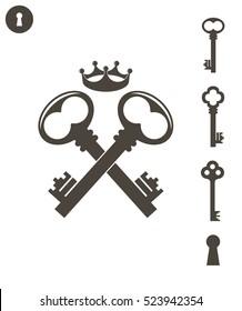 Key. Logo. Old keys on white background