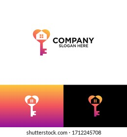 key with love and home for home security logo design