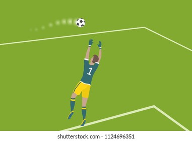 The key moment in football. Soccer goalkeeper jumped to catch the ball. Vector illustration EPS-8.