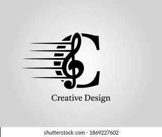 Key Note C Letter Logo Vector. Music Note On Initial C Design.