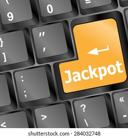 key on a computer keyboard with the words jackpot vector