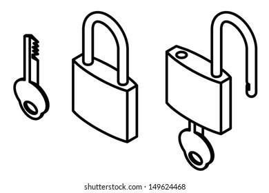 Key and padlock in locked and unlocked states.