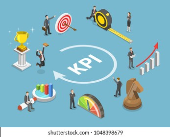 Key performance indicator flat isometric vector concept. Renders major KPI points as following objective, measurement, optimization, strategy, performance, evaluation.