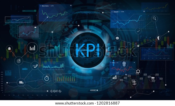 Key Performance Indicator (KPI) and business analytics (BA), metrics to measure achievement versus planned target on an automated marketing dashboard, person touching screen icon, success. Vector