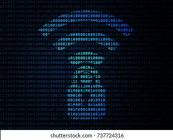 The Key Reinstallation Attack (KRACK), Wi-Fi security flaw symbol on blue binary code background.
