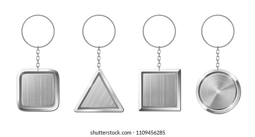 Key ring with silver pendant holder. Blank keychain with ring for keys. Isolated circle triangle square key chains for home on steel key holder or car keys 3d realistic isolated vector set