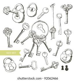 Key set: variety of hand drawn locks and keys.