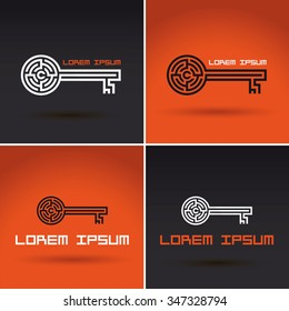 key shaped labyrinth, maze abstract logo design