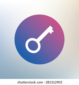 Key sign icon. Unlock tool symbol. Icon on blurred background. Vector